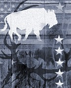 Bison Digital Art - American Bison Collage in Blue by Sharon Marcella Marston