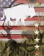 Bison Digital Art - American Bison Collage by Sharon Marcella Marston