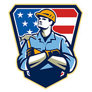 American Digital Art - American Builder Carpenter Hammer Crest Retro by Aloysius Patrimonio