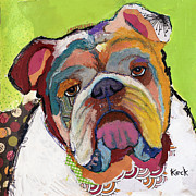 Pet Portraits Paintings - American Bulldog by Michel  Keck