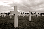 Crosses Photo Prints - American Cemetery in Normandy  Print by Olivier Le Queinec