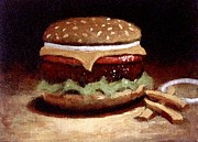 American Food Painting Prints - American Cheeseburger Print by William McLane