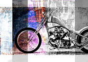 Motor Digital Art Prints - American Chopper Bike Print by David Ridley