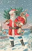 Father Christmas Paintings - American Christmas card by American School