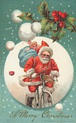 Bicycles Paintings - American Christmas card with a cycling Father Christmas with his sack of gifts by American School