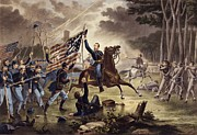 Flags Paintings - American Civil War General   Philip Kearny by American School