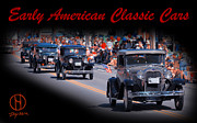 Early Mixed Media Posters - American Classic Cars Poster Print Poster by Dapixara Art