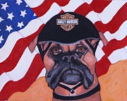 4th July Painting Metal Prints - American Dawg Metal Print by Christina Hoffman