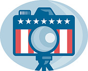 Camera Prints - American DSLR Camera Stars and Stripes Flag Print by Aloysius Patrimonio