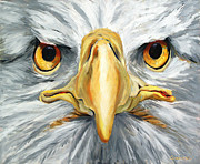 American Flag Mixed Media Prints - American Eagle - Bald Eagle By Betty Cummings Print by Betty Cummings