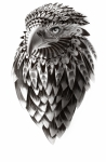 American Eagle Black And White Ornate Rendered Illustration Print by Sassan Filsoof