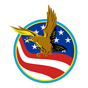 Raptor Digital Art - American Eagle Carry USA Flag Retro by Aloysius Patrimonio