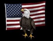 American Flag Mixed Media - American Eagle by Karen Sheltrown