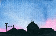 Indiana Scenes Paintings - American Farm #1 Silhouette by R Kyllo