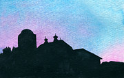 Indiana Landscapes Painting Prints - American Farm Silhouette #1 Print by R Kyllo