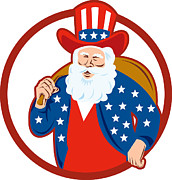 American Digital Art - American Father Christmas Santa Claus by Aloysius Patrimonio