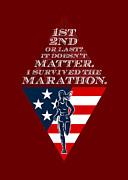American Female Marathon Runner Retro Poster Print by Aloysius Patrimonio