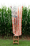 Fourth Of July Art Prints - American Flag and a Field of Corn Print by Kim Fearheiley