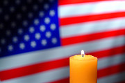 Prayer Prints - American Flag and Candle Print by Olivier Le Queinec