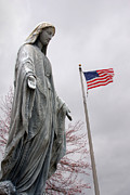Catholic Art Photo Originals - American Flag and Our Lady of Grace Fairview Cemetery Jasper Indiana 2008 by John Hanou