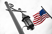 Flag Pole Framed Prints - American Flag and Pole Framed Print by John McGraw
