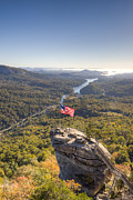 Chimney Rock State Park Prints - American Flag at Chimney Rock State Park North Carolina Print by Dustin K Ryan
