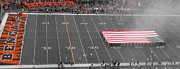 Sidelines Prints - American Flag At Paul Brown Stadium Print by Dan Sproul