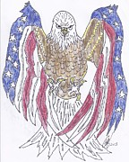 David Drawings - American Flag Bald Eagle by David G Boggs
