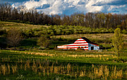 American Flag Metal Prints - American Flag Barn Metal Print by Amy Cicconi