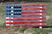 Folk Art American Flag Photos - American Flag Country Style by Sylvia Thornton