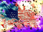Wings Of A Bird Paintings - American Flag by Daniel Janda