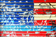 America Framed Prints - American Flag Graffiti Framed Print by Sabine Jacobs