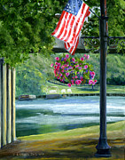 Patriotic Paintings - American Flag in Natchitoches Louisiana by Lenora  De Lude