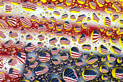 Pop Art Art - American flag in water drops by Mingqi Ge