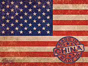 Icon Mixed Media Originals - American Flag Made In China by Tony Rubino