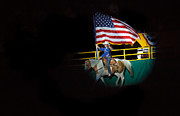 Stampede Prints - American Flag On Display Print by Robert Bales