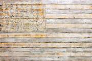 American Flag Mixed Media Prints - American Flag on Distressed Wood Beams White Yellow Gray and Brown Flag Print by Design Turnpike