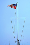Ocean And Beach - American Flag On Mast by Ben and Raisa Gertsberg