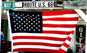 Dany Lison Framed Prints - American flag Route 66 Framed Print by Dany Lison