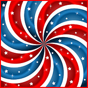 4th July Digital Art Posters - American flag stars and swirly stripes Poster by Toots Hallam