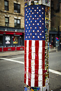 Lamp Post Framed Prints - American Flag Tiles Framed Print by Garry Gay