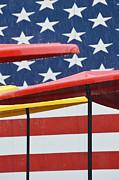 American Flag Umbrellas Print by Adspice Studios