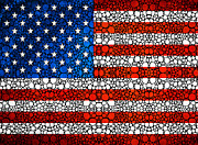 Usa Flags Prints - American Flag - USA Stone Rockd Art United States Of America Print by Sharon Cummings