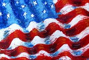 Waving Flag Mixed Media Metal Prints - American Flag Metal Print by Venus