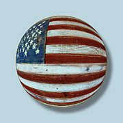 Landmarks Mixed Media Originals - American Flag Wood Orb by Tony Rubino