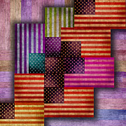 Us Flag Mixed Media Prints - American Flags Print by Tony Rubino