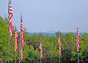 Fought Prints - American Flags with Kennesaw Mountain in Background Print by Renee Trenholm