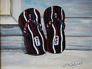 Flip-flops Paintings - American Flip Flops by Stacey Rivera
