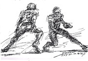 American  Drawings - American Football 3 by Ylli Haruni