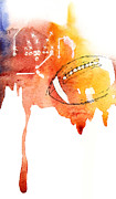 American Football Painting Posters - American Football design Poster by Mahsa Watercolor Artist
